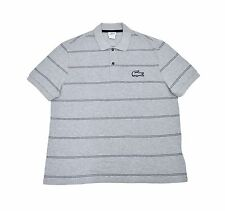 282a0c8bdd6f0 3042 Lacoste Mens Regular Fit Striped Polo Shirt Silver Chine Black Size XL