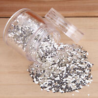 10g Glitter Powder Glitter Nail Art Manicure Silver White Sequines Tips 1/2/3mm