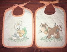 Vtg Precious Moments Bibs Handmade Cow Bunny