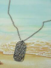 Brighton Silver Tone Pendant Flowers Necklace 18 inches  Ls1