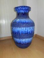Große Keramik-Vase Blau 70er Jahre Bodenvase SCHEURICH Fat Lava 48 cm hoch