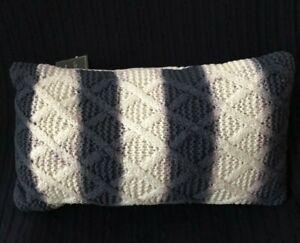 """Lacourte En vouge Navy Tie-Dyed Stripe Knit 14"""" x 26"""" Decorative Throw Pillow"""