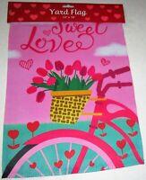 "VALENTINE'S DAY Decorative Yard Flag 12"" x 18"" SWEET LOVE  Flip Flag"