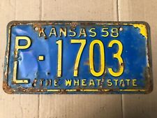1958 Kansas License Plate 1703 Phillips County Original Plates 58