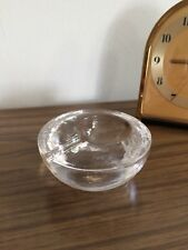 Mid Century Modern Vintage Blenko Clear Glass Round Ice Block Ashtray Modernist