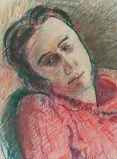 FEMALE PORTRAIT Pastel Drawing WALTER SICKERT Pupil FRANK GRIFFITH c1950