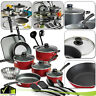 NONSTICK COATED 9/18 Piece Pots & Pans Cookware Set Polished Kitchen Cooking