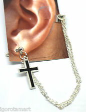 Brand New Men Women Fashion Silver Cross Dangle Clip Gold Earring UK Brands