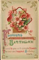Antique Birthday Postcard 'Flowers to Greet Your Birthday' cpy M. Loewenberg EAS