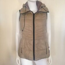 Bernardo Light Packable Goose Down Women's Sleeveless Hooded Jacket Beige S