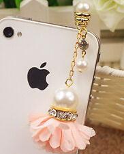 PINK Flower Rhinestone & Pearl UNIVERSAL Headphone Dust Plug Charm Phone Kawaii
