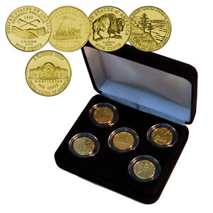 2003 -2005 Nickel Collection 24kt Gold Plated USA Coin Set*Officially Licensed*