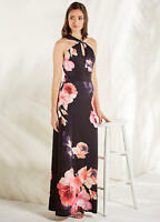 Stretch Jersey Twist Detail Floral Print Evening Party Maxi Dress Size 10 NEW