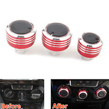 3x Red Car Inner Air Condition Switch AC Heat Control Knob For Bora 08-2013