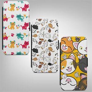 Cat Cute Kitten Print Pattern FLIP WALLET PHONE CASE COVER