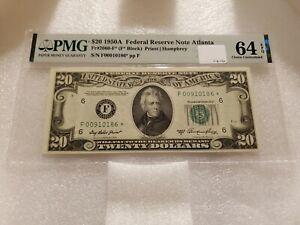 1950A $20 Federal Reserve Note Atlanta Fr#2060-F (F Block) PMG 64 EPQ