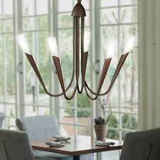 Kronleuchter Landhaus Stil Pendel Lampe rostfarbig Leuchte Alabaster Glas 5-flg