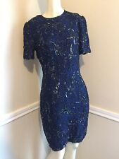 Women's Sz: 6 Navy SIlk Beaded and Sequin Shift Dress by Adriana Papell  #17