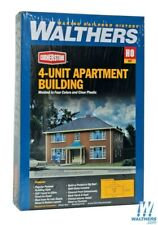 Walthers 933-3781 Four-Unit Brick Apartment Building Kit HO Scale Train