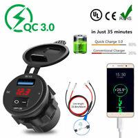 QC 3.0 USB Car Boat Cigarette Lighter Socket Splitter Fast Charger Adapter Outle