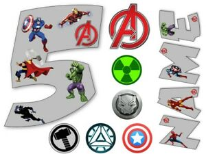 AVENGERS INSPIRED NAME AND NUMBER PERSONALISED CAKE EDIBLE ICING TOPPER