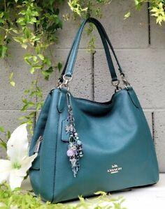 New COACH 80268 hallie leather carryall Shoulder purse hobo handbag dk turquoise