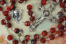 Catholic Rosary RUBY RED Multi Faceted Glass Beads Ornate Crucifix Center medal