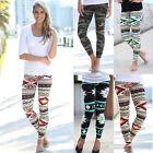 Women Stretchy Print Leggings Casual Skinny Leggings Slim Pencil Pants Trousers