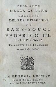 Dell'arte della guerra Canti sei del reale filosofo di Sans-Souci Militaria 1765