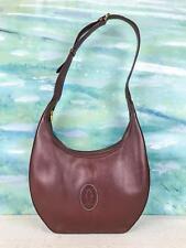 $740 CARTIER Maroon Bordeaux Leather Hobo Shoulder Bag Zipper Gold HW SALE! EUC