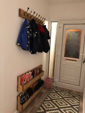 Set of 2 Large Reclaimed Wood Wall Mounted Shoe Rack Storage Space saver