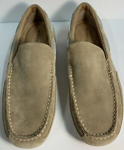 Sperry Top Sider Men's 11M Beige Suede Leather Slip On Boat Shoes CH196 Worn 1X