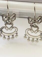earrings diamond cut 4.20 grams chandelier 18k solid white gold dangling earring