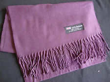 100% Cashmere Winter Scarf Scarve Scotland Warm Solid Dark Purple Shawl Neck NEW