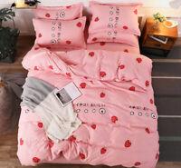 Strawberry Print Pink Bedding Set Duvet Quilt Cover+Sheet+Pillow Case Four-Piece