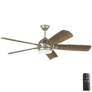 "Home Decorators Collection Camrose 60"" Integrated LED Brushed Nickel Ceiling Fan"