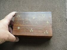 Vintage Inlaid Wooden Jewellery / Storage Box, Size 15.5 x 10.3 x 5cm,