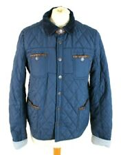RIVER ISLAND Women Jacket Coat 10 Blue Brown Quilted Fitted Lightweight Winter