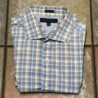 Used Tommy Hilfiger Blue Plaid Long Sleeve Shirt Button Up Men's Size 16.5 32-33