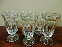 6 Vintage Heavy Clear Pedestal Footed Wine Glasses Set of Six 6.5 Inch Tall