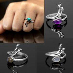 Adjustable Sterling Silver Ladies Moonstone Amethyst Ring Boxed Gift Jewellery