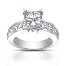 2.50 Ct Ladies Princess Cut Diamond Engagement Ring In 18 Karat White Gold