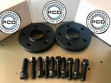 Pair 5x112 Hubcentric Spacers 15mm Wide 66.5CB 10 Wheel Bolts AUDI BLACK UK Made
