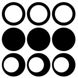 10 Kreise gefüllt ungefüllt Retro selbstklebend Aufkleber ver. Größen & Farben