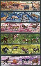 204 - Burundi - Fauna - Lion - Monkeys - Panther - Zebra - Birds  - Used Set