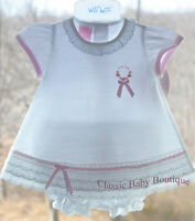 NWT Will'beth White Pink 2pc Lace Ribbon Dress 3 months 3M Baby Girls Bloomers