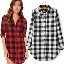 Winter Women Long Sleeve Plaid Checks Button Down Top T-Shirt Lady Shirt Blouse