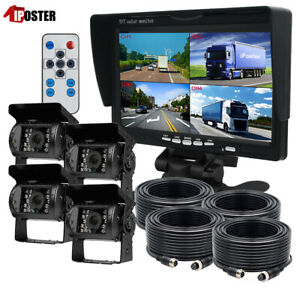 """7"""" Quad Monitor Split screen 4x 4PIN 18 IR CCD Color Rear View Camera For Truck"""