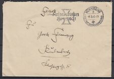 German Reich 1942 Wwii ☀ Feldpost Nürnberg to Kulmbach ☀ 1v used / scan