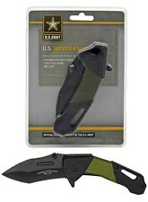 """8"""" Official Us Army Od Green Spring-Assist Folding Tactical Combat Service Knife"""